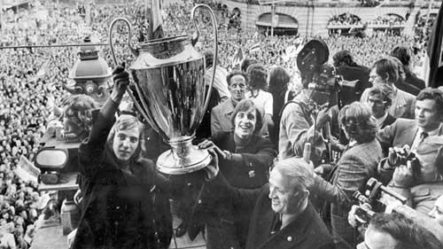 Ajax hold the European Champion Clubs Cup aloft