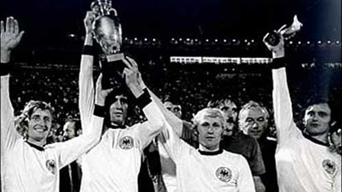 Czechoslovakia parade the trophy after defeating West Germany